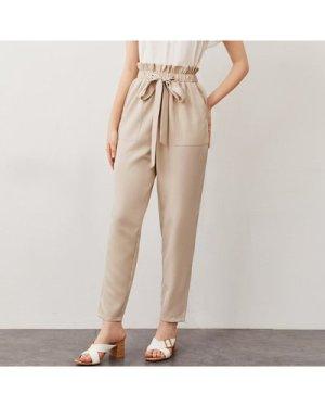 Paperbag Waist Pocket Patched Drawstring Pants