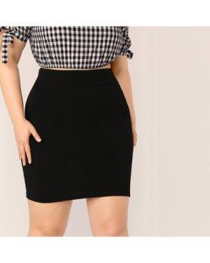 Plus Elastic Waist Solid Pencil Skirt