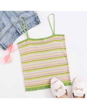 Plus Striped Crop Knit Top