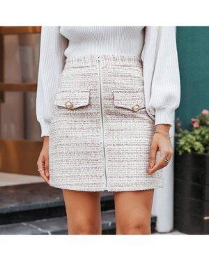 Zip Up Buttoned Tweed Skirt