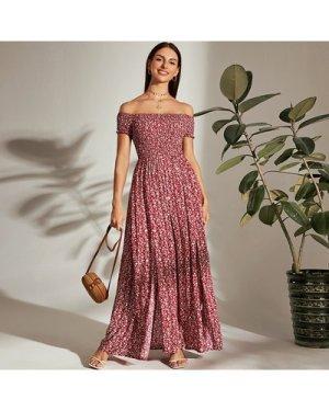 Off Shoulder Shirred Bodice M-slit Hem Ditsy Floral Dress