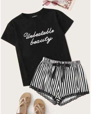 Letter Graphic Top & Lace Trim Striped Shorts PJ Set