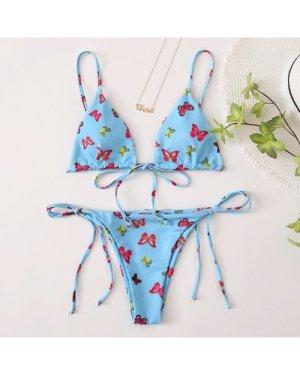 Butterfly Print Triangle Tie Side Bikini Swimsuit