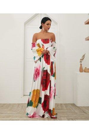 Off Shoulder Shirred Rose Print Maxi Dress
