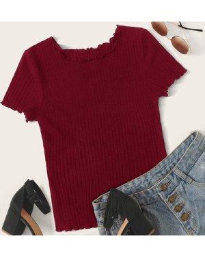 Lettuce Trim Rib-knit Top