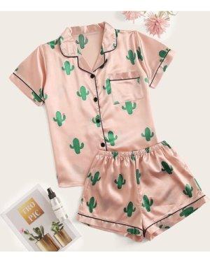 Cactus Print Satin Pajama Set