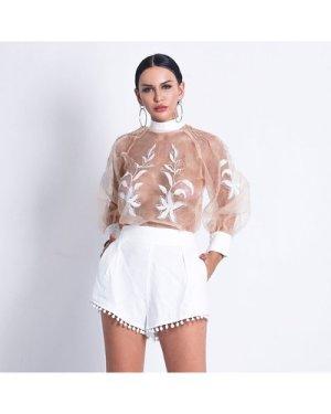 Mock Neck Sheer Embroidery Mesh Top & Shorts Set