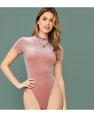 Lettuce Trim Mock Neck Rib-knit Velvet Bodysuit