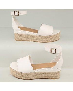 Ankle Strap Scalloped Detail Flatform Sandals
