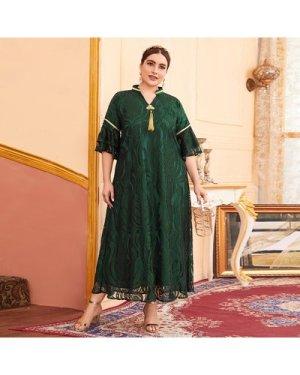 Plus Lace Overlay Fringe Flounce Sleeve Dress