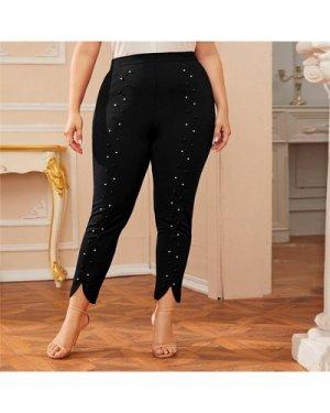 Plus Pearls Detail Split Hem Pants
