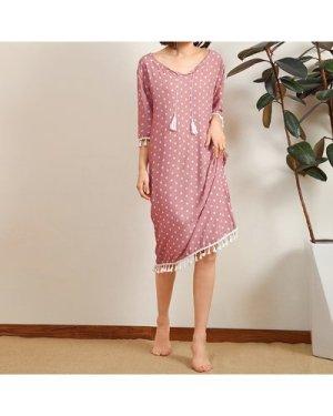Tie Neck Polka Dot Print Tassel Trim Dress