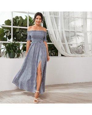 Katy Perry's Picks Frill Trim Shirred Bodice Split Thigh Gingham Dress