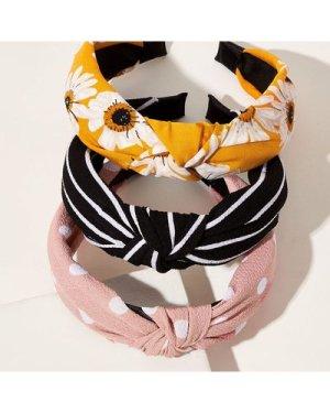 3pcs Flower & Polka Dot Print Knotted Headband