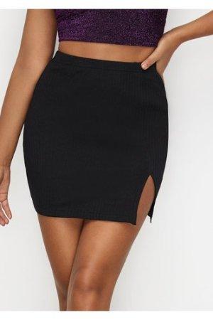 Slit Hem Rib-knit Skirt