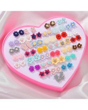 36pairs Random Flower Design Stud Earrings