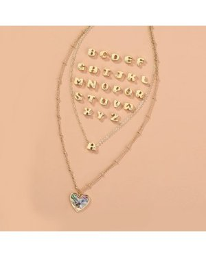 Letter Detachable Layered Necklace