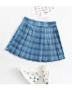 Zipper Side Tartan Skater Skirt