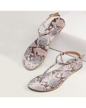 Snake Print Gladiator Slingback Thong Sandals