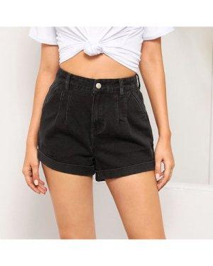 Fold Pleat Detail Cuffed Denim Shorts