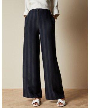 Satin Striped Wide Leg Trousers