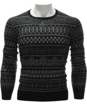 Ethnic Style Geometric Graphic Crew Neck Sweater