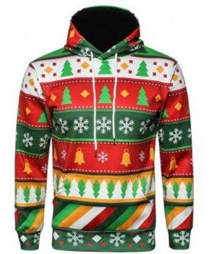 Christmas Snowflake Geometric Print Pullover Hoodie