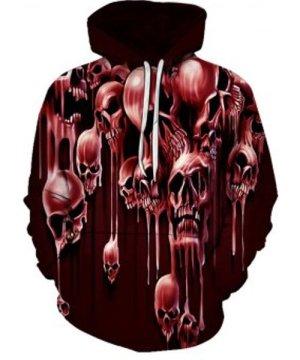 Halloween Liquid Skull Pattern Front Pocket Drawstring Hoodie