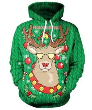 Drawstring Christmas Elk Print Hoodie