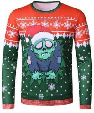 Christmas Hat Zombie Print Slim Crew Neck T Shirt