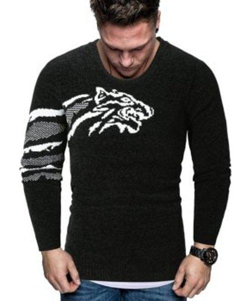 Tiger Graphic Crew Neck Chenille Sweater