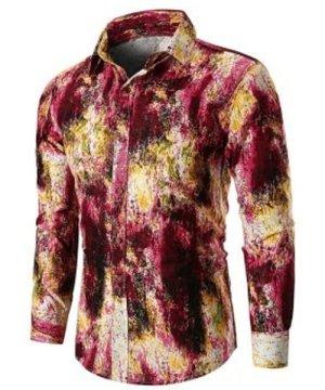 Tie Dye Button Up Linen Casual Shirt