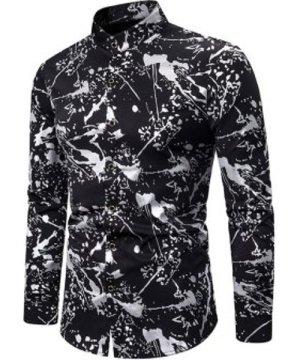 Gilding Splatter Paint Stand Collar Button Up Shirt