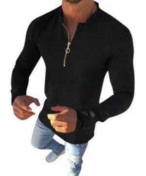 Plain O-ring Half Zipper Stand Collar Casual T Shirt