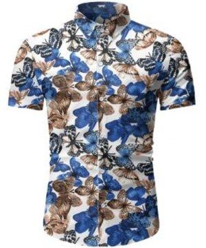 Butterfly Pattern Button Short Sleeves Shirt