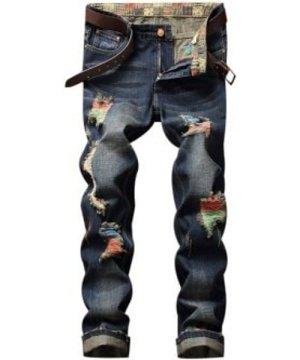 Colorful Destroy Wash Scratch Long Jeans