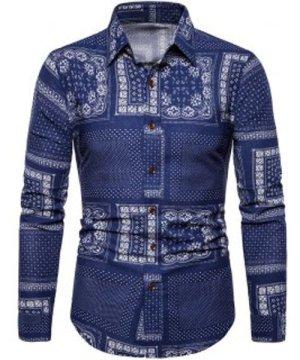 Pin Dot Pattern Block Button Up Vintage Shirt