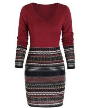 Tribal Print Mini Bodycon Dress