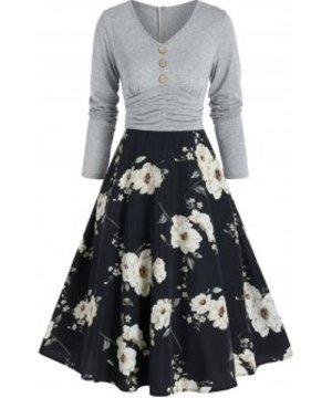 Floral Print Button 2 In 1 High Waist A Line Dress