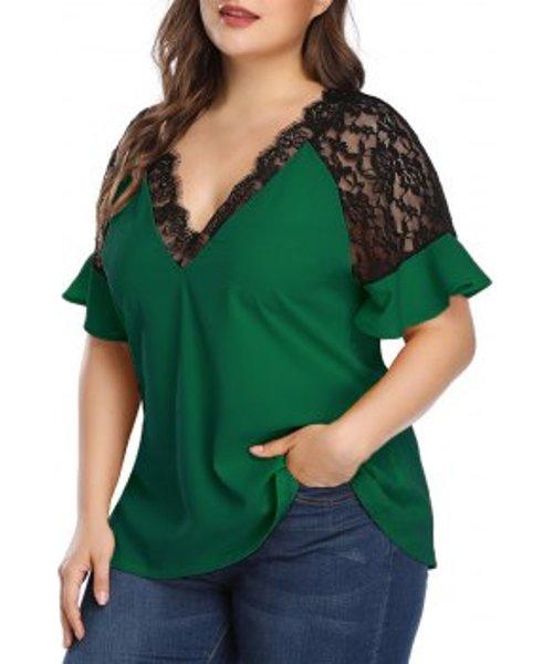 Plus Size Contrast Lace Low Cut Blouse