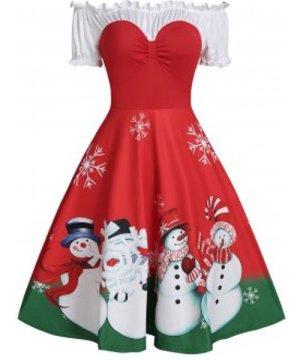 Christmas Snowman Print Off The Shoulder Ruched Skater Dress