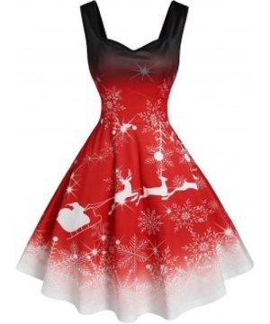 Christmas Ombre Snowflake Elk Print Dress