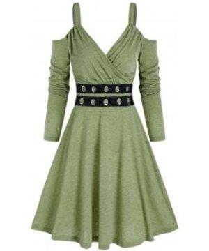 Open Shoulder Grommet High Waist Mini Dress