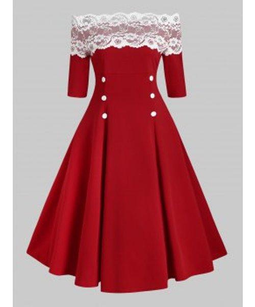 Off Shoulder Flower Lace Button Embellished Rockabilly Style Dress