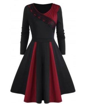 Ruched Lace Applique Godet Dress