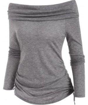 Off Shoulder Foldover Cinched T-shirt