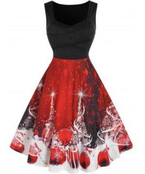 Christmas Print Crossover Flare Dress