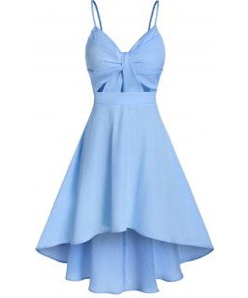 Solid Front Knot Cami Dip Hem Dress