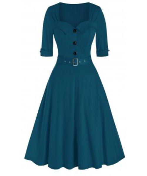 Vintage Half Button Belted Flare Dress