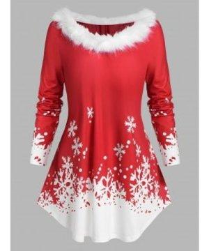 Plus Size Faux Fur Neckline Christmas Snowflake Tee